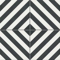 4 Carreaux de ciment coloré noir et blanc AZUR 10.01