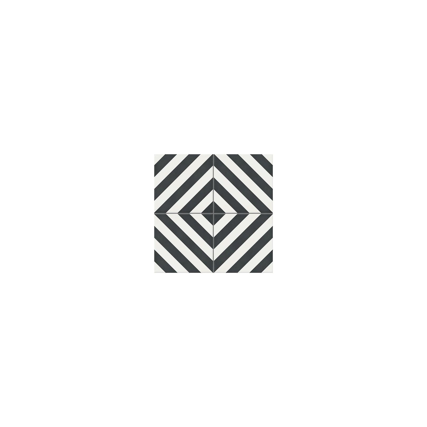 Carreau de ciment coloré motif noir et blanc Azur 10.01
