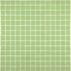 Mosaïque Unicolor 2,5x2,5cm vert anis 115 mat ou brillant ou antidérapant sur trame nylon 33,3x33,3cm