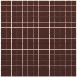 Mosaïque Unicolor 2,5x2,5cm marron 210 mat ou brillant  ou antidérapant sur trame nylon 33,3x33,3cm