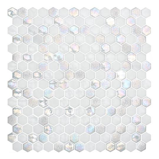 Mosaïque Textures hexagone 2,6x2,2cm Star, blanc sur trame nylon 33,2x33,2cm