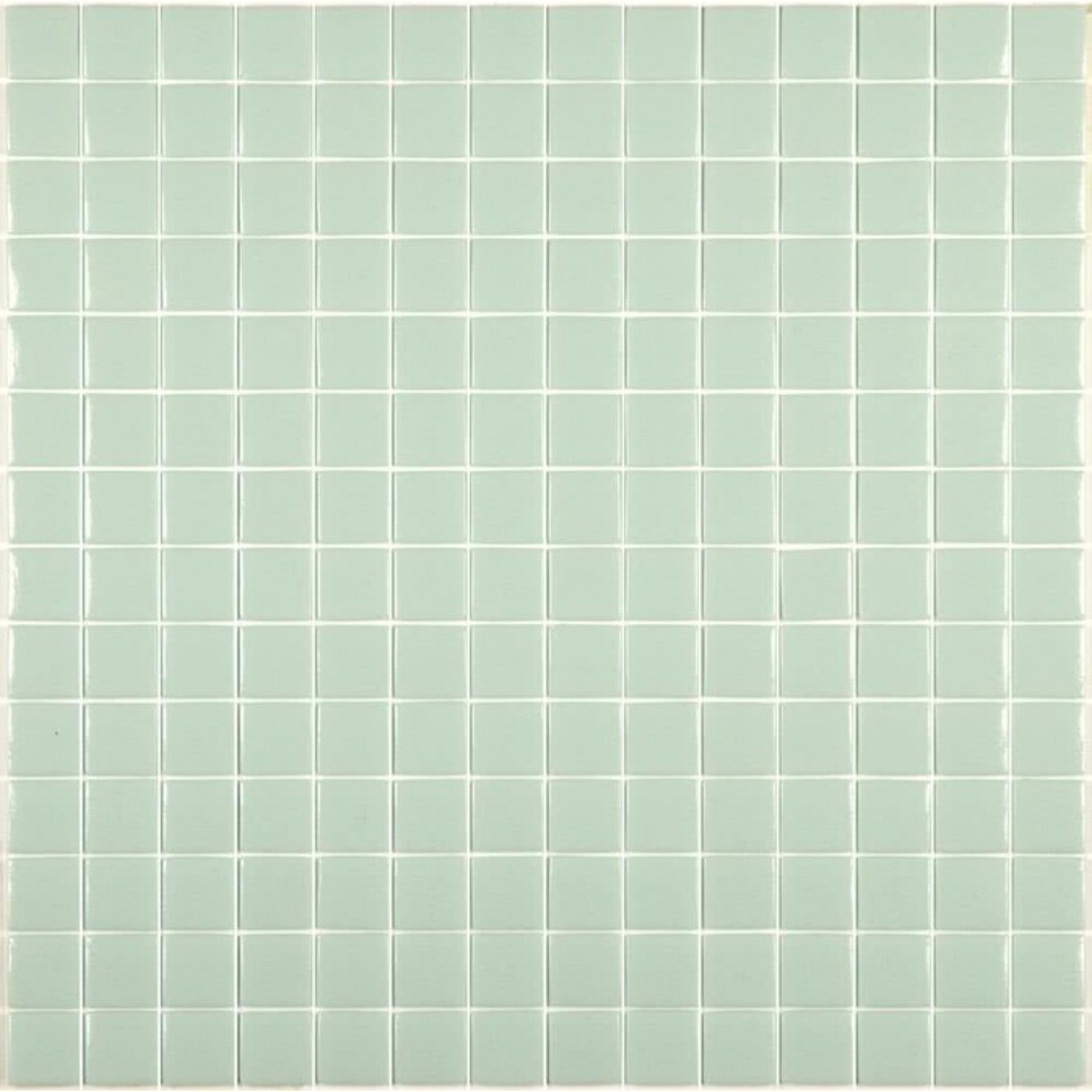 Mosaïque Unicolor 2,5x2,5cm vert pastel 311 mat ou brillant ou antidérapant sur trame nylon 33,3x33,3cm