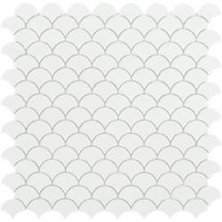 Mosaïque Soul écaille 3,6x2,9cm blanc mat sur trame nylon 33,2x33,2cm