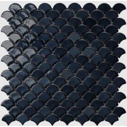 Mosaïque Soul écaille 3,6x2,9cm Black (noir) brillant sur trame nylon 32,4x31,7cm