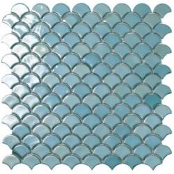 Mosaïque Soul écaille 3,6x2,9cm Turquoise brillant sur trame nylon 32,4x31,7cm