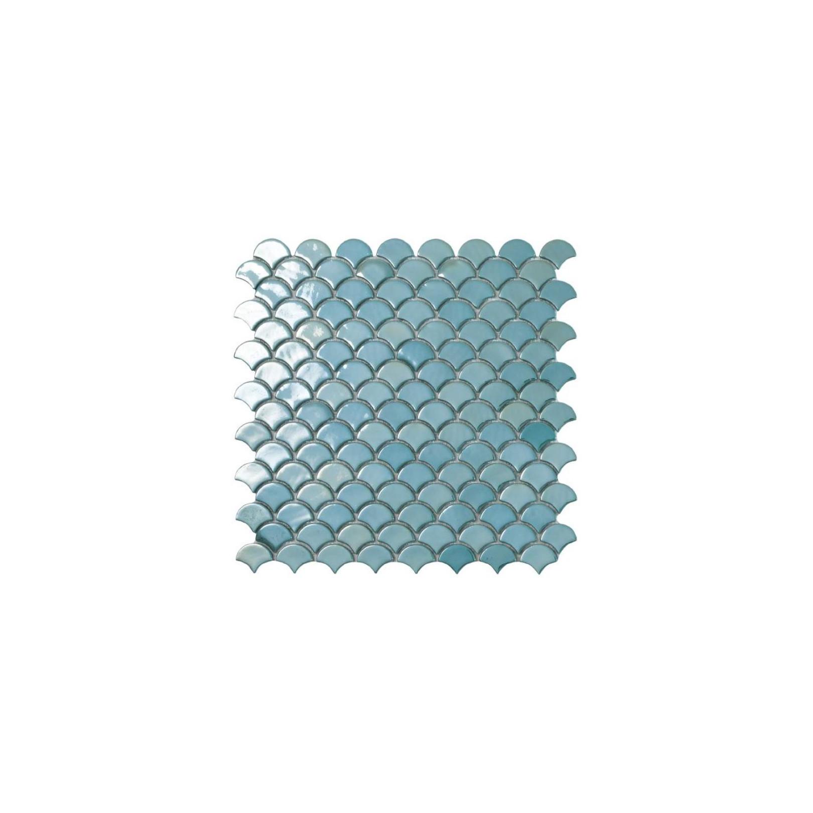 Mosaïque Soul écaille 3,6x2,9cm Turquoise brillant sur trame nylon ...