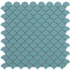 Mosaïque Soul écaille 3,6x2,9cm Turquoise mat sur trame nylon 32,4x31,7cm