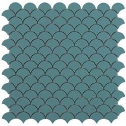 Mosaïque Soul écaille 3,6x2,9cm Green (vert) mat sur trame nylon 32,4x31,7cm réf 6107S