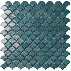 Mosaïque Soul écaille 3,6x2,9cm Green (vert) brillant sur trame nylon 32,4x31,7cm réf 6003S