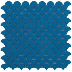 Mosaïque Soul écaille 3,6x2,9cm Blue (bleu) mat sur trame nylon 32,4x31,7cm
