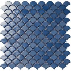 Mosaïque Soul écaille 3,6x2,9cm Dark Blue (bleu profond) brillant sur trame nylon 32,4x31,7cm