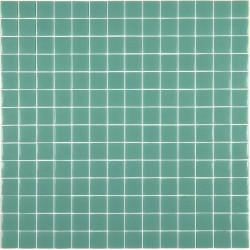 Mosaïque Unicolor 2,3x2,3cm turquoise 222 mat ou brillant ou antidérapant sur trame nylon 33,3x33,3cm