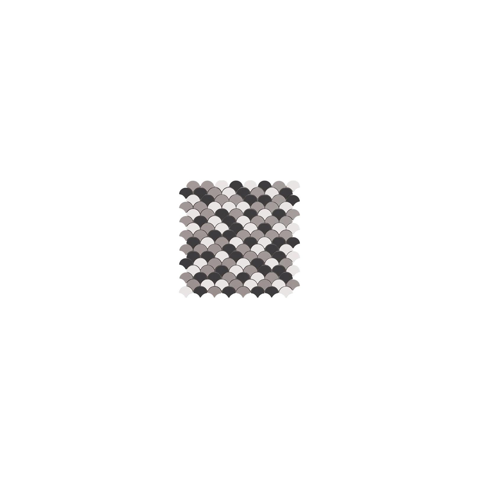 Mosaïque Soul écaille 3,6x2,9cm Frappe Mix (blanc, gris et noir) mat sur trame nylon 32,4x31,7cm