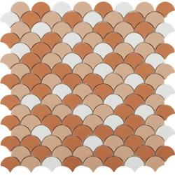 Mosaïque Soul écaille 3,6x2,9cm Cotto Matt (blanc, beige et orange) mat sur trame nylon 32,4x31,7cm