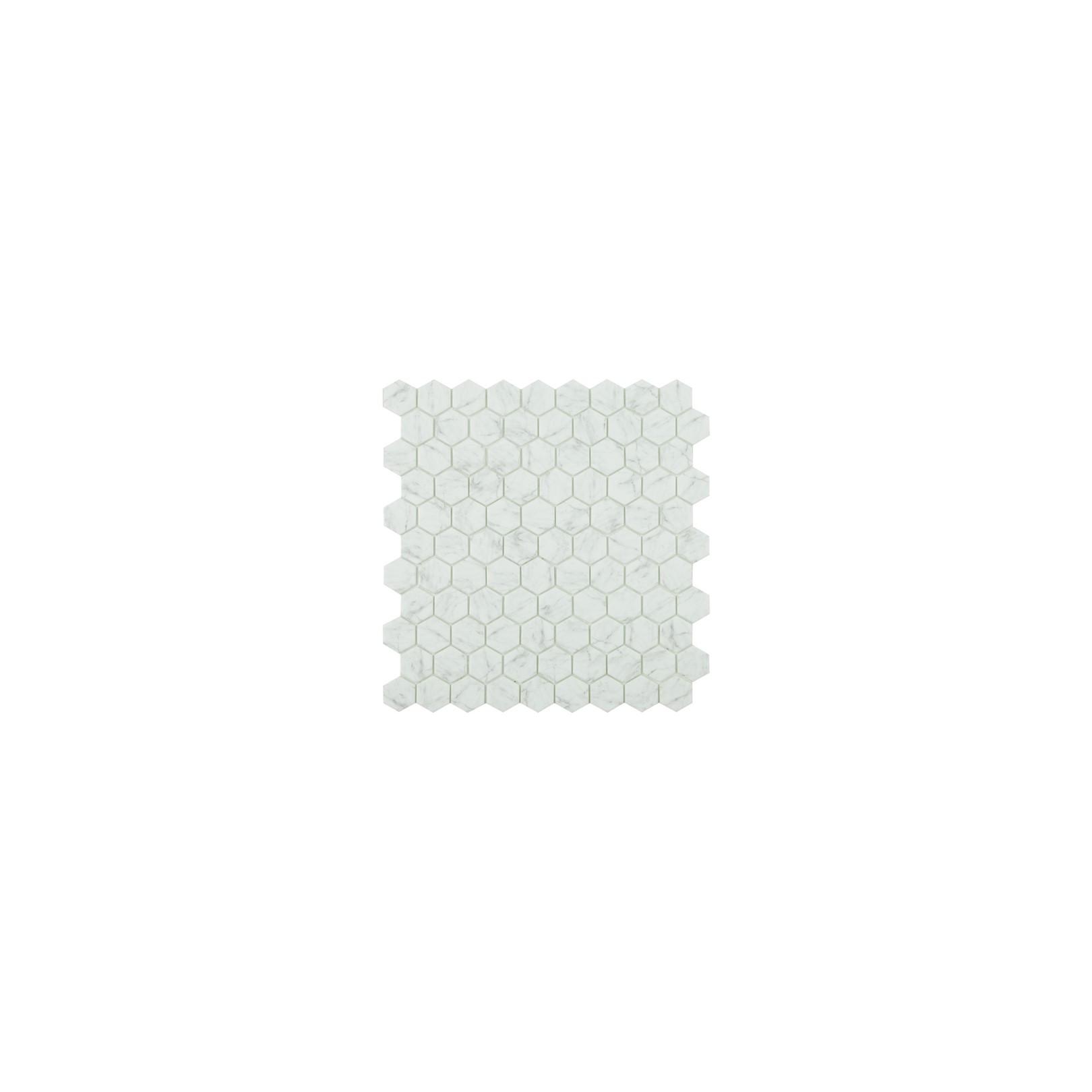 Mosaïque hexagone 3,5x3,5cm Carrara Grey mat sur trame nylon 32,4x31,7cm