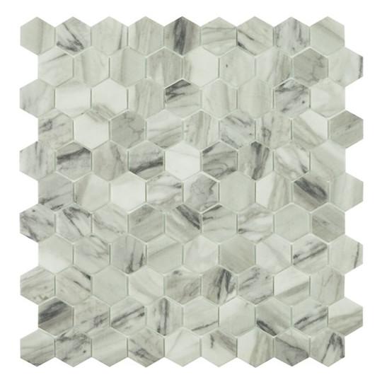 Mosaïque hexagone 3,5x3,5cm Viena mat sur trame nylon 32,4x31,7cm