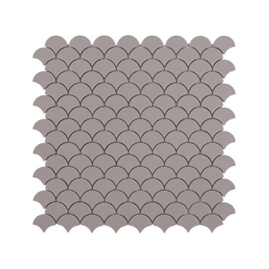 Mosaïque Soul écaille 3,6x2,9cm gris Matt Frappe mat sur trame nylon 32,4x31,7cm
