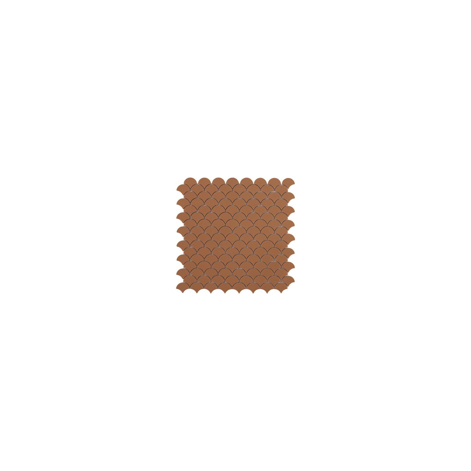 Mosaïque Soul écaille 3,6x2,9cm Matt Moka marron mat sur trame nylon 32,4x31,7cm