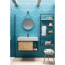 Meuble bain suspendu Vinci largeur 81cm structure alu laqué noir et chêne africain avec vasque Veneto céramique 81cm, structur