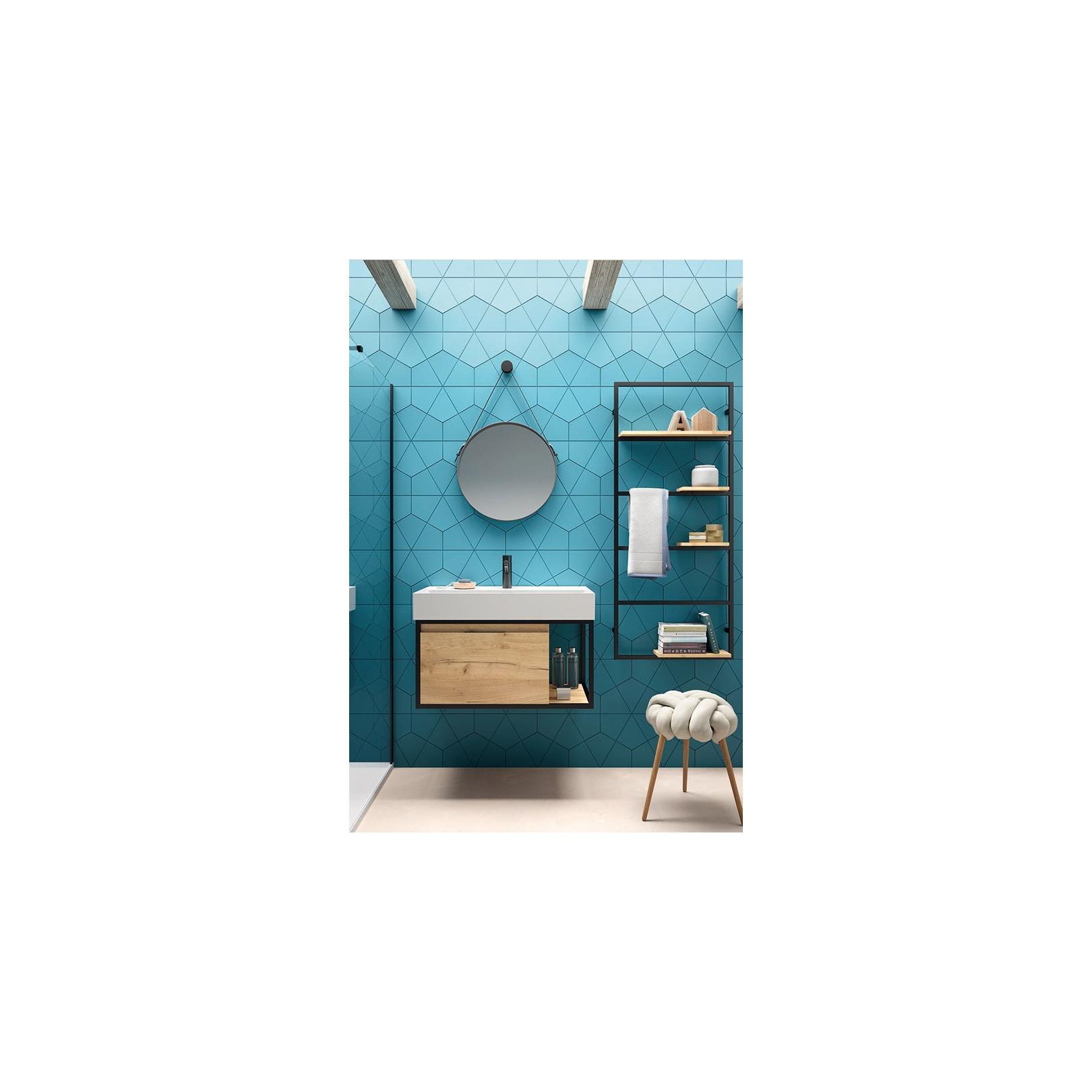 Meuble bain suspendu Vinci largeur 81cm structure alu laqué noir et chêne  africain avec vasque Veneto céramique 81cm