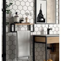 2tagère avec porte serviette bain suspendu Vinci avec structure alu laqué noir et chêne africain (largeur 40 ou 60cm)