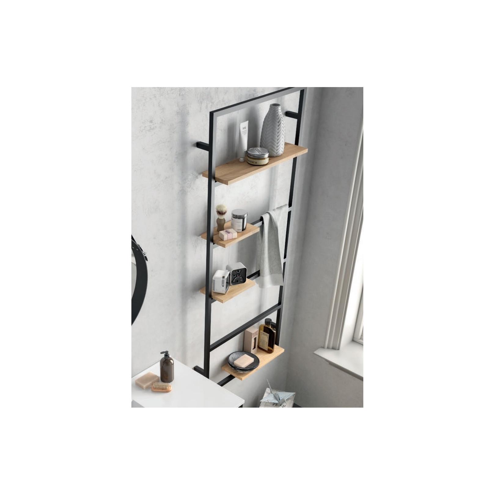 Etagère échelle avec porte serviette bain suspendu Vinci avec structure alu laqué noir et chêne africain