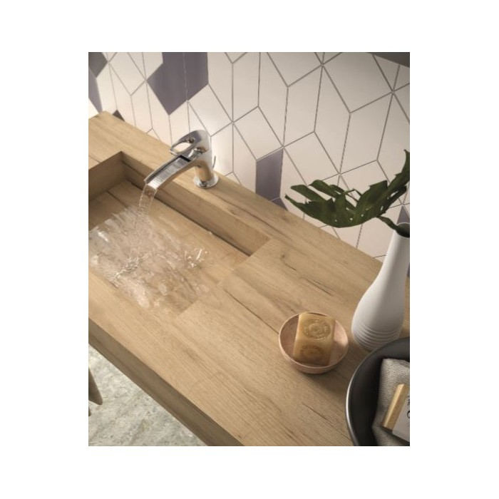 Plan simple vasque intégrée Compakt Chêne Africain, sur mesures 60 à 250cm