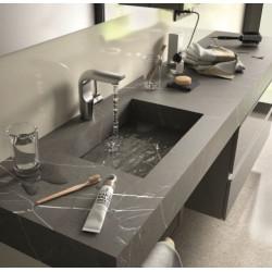 Plan simple vasque intégrée Compakt Marbre Gris, sur mesures 60 à 250cm