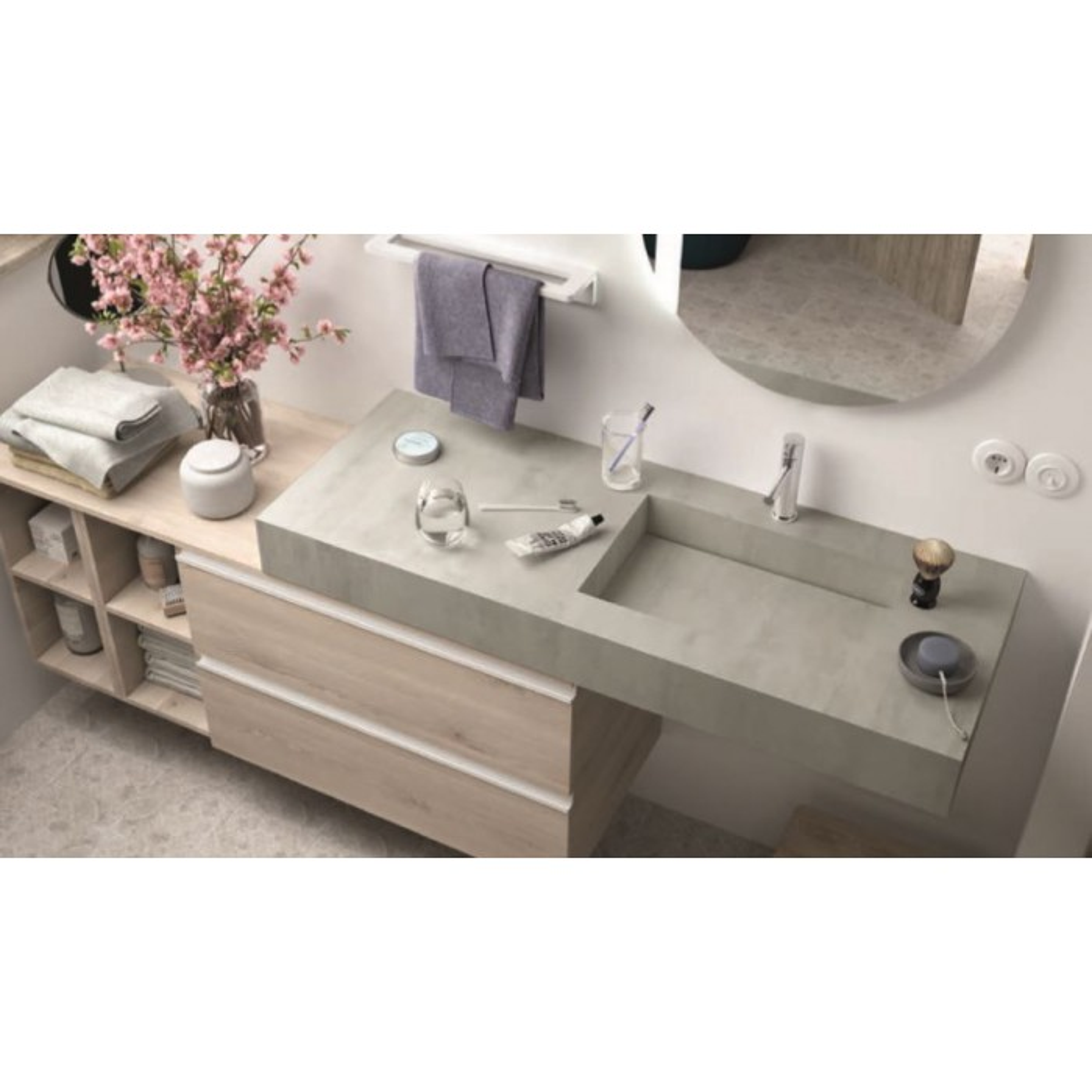 Plan simple vasque intégrée Compakt Ciment, sur mesures 60 à 250cm