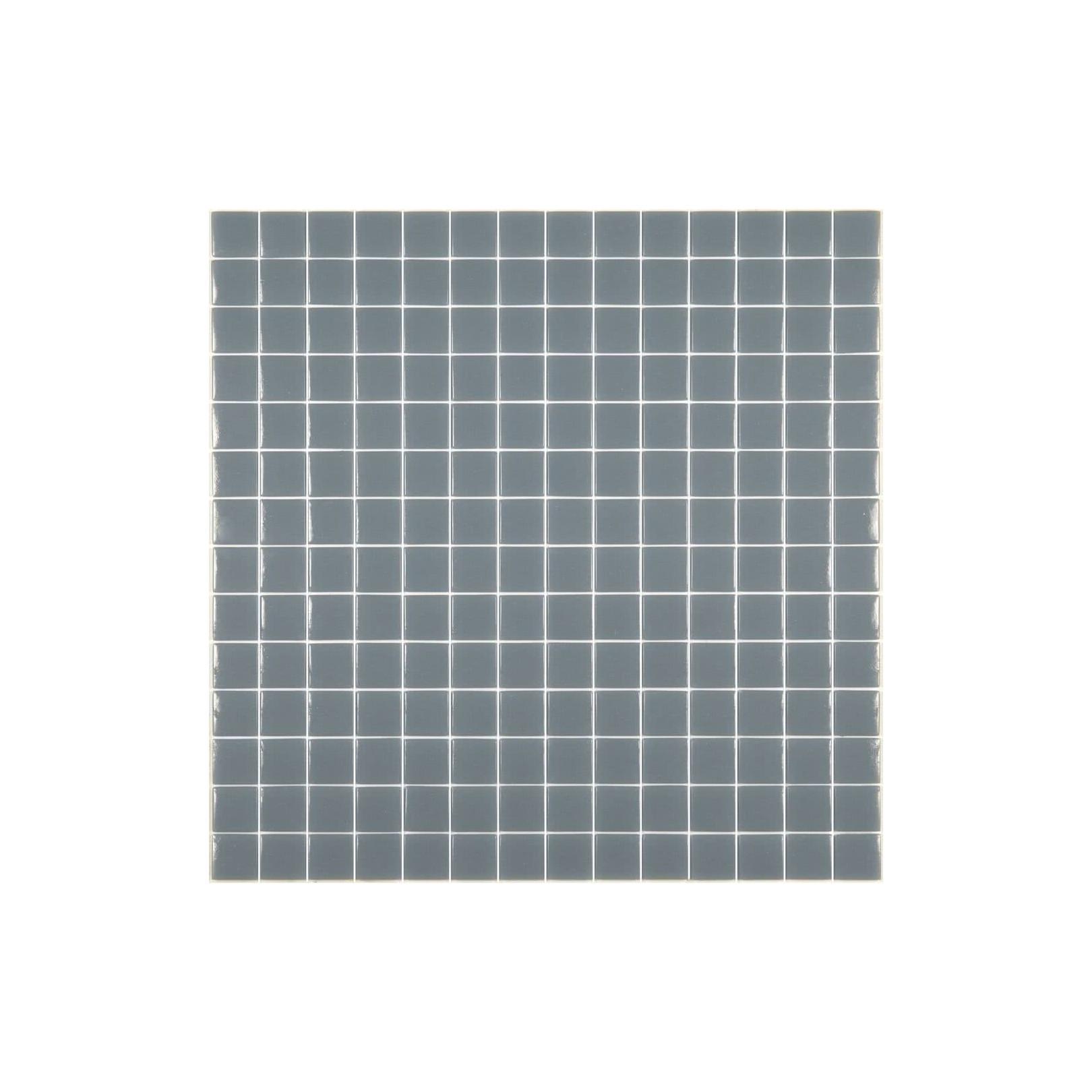 Mosaïque Unicolor 2,3x2,3cm gris moyen 317 mat ou brillant ou antidérapant sur trame nylon 33,3x33,3cm