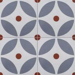 4 Carreaux de ciment coloré gris et rouge LYO 07.33.11