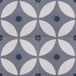 Carreau de ciment coloré motif gris clair, gris moyen et bleu foncé LYO 33.07.30