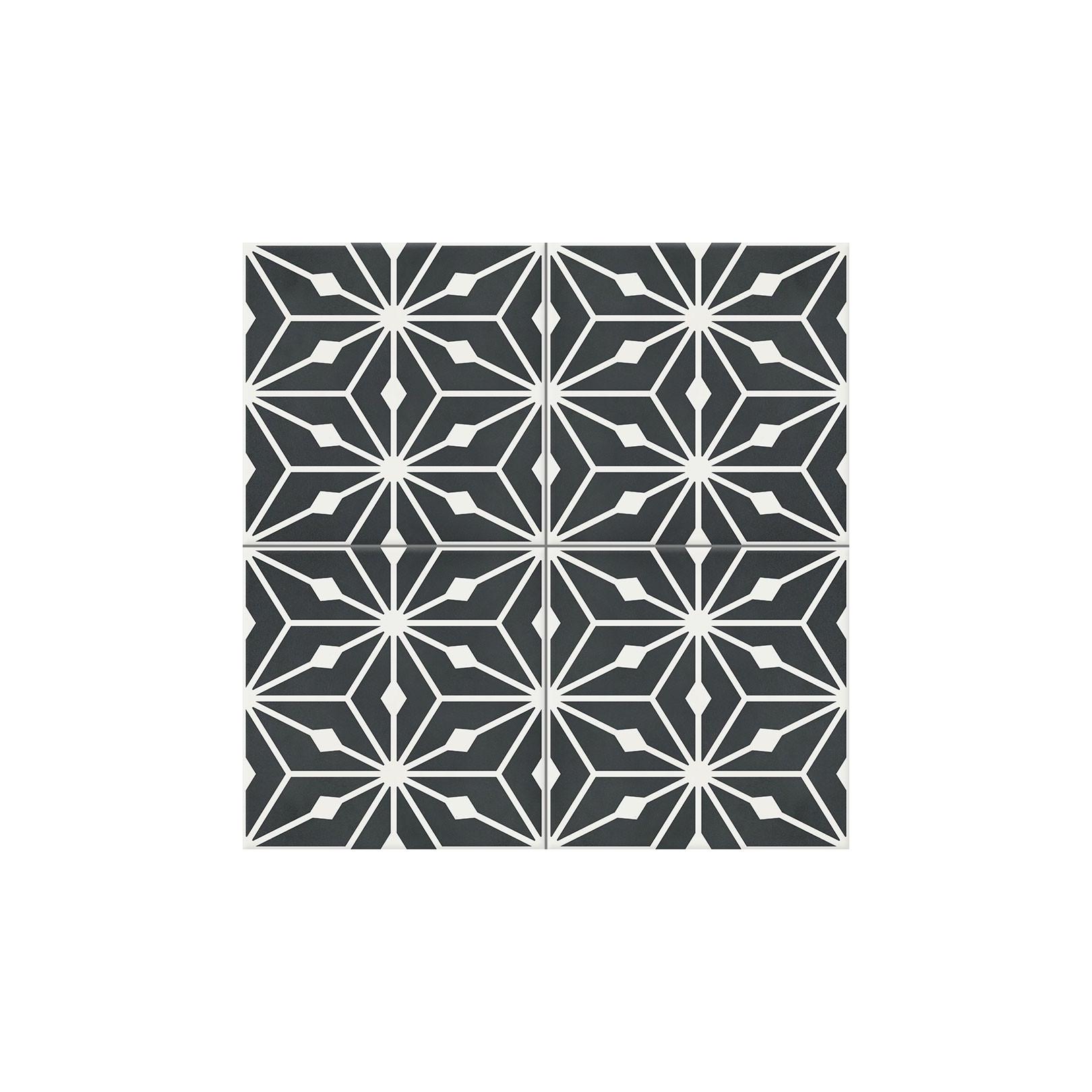 Carreau de ciment coloré motif 4 carreaux noir et blanc Anis 01.10