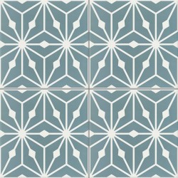 Carreau de ciment coloré motif 4 carreaux bleu et blanc Anis 39.10