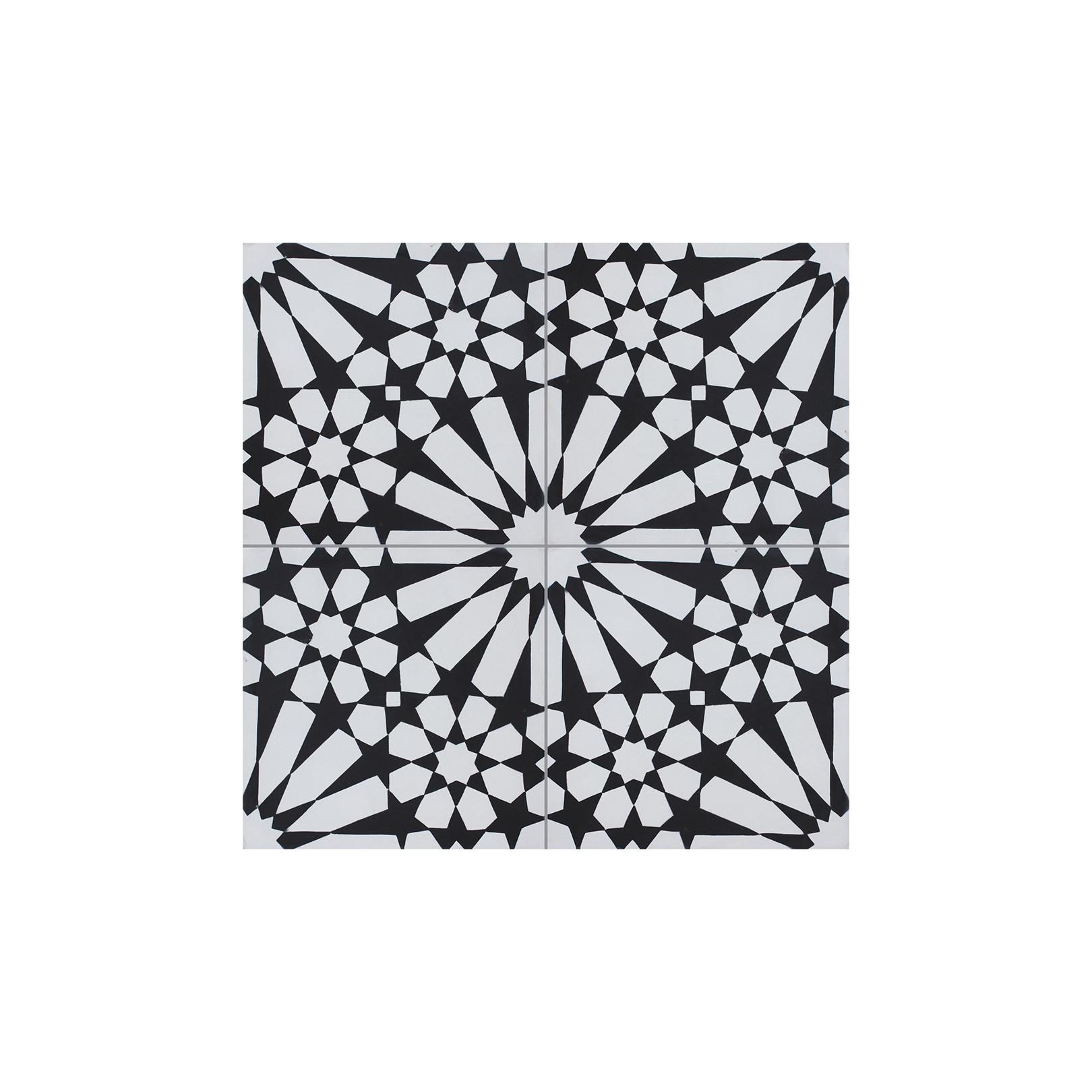 Carreau de ciment coloré motif 4 carreaux noir et blanc TUILERIES 01.10