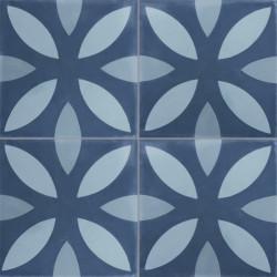 4 Carreaux de ciment coloré motif bleu clair, bleu pastel et bleu NOA 30.40.39