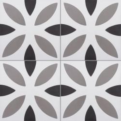 4 Carreaux de ciment coloré motif blanc, gris et noir NOA 10.01.27