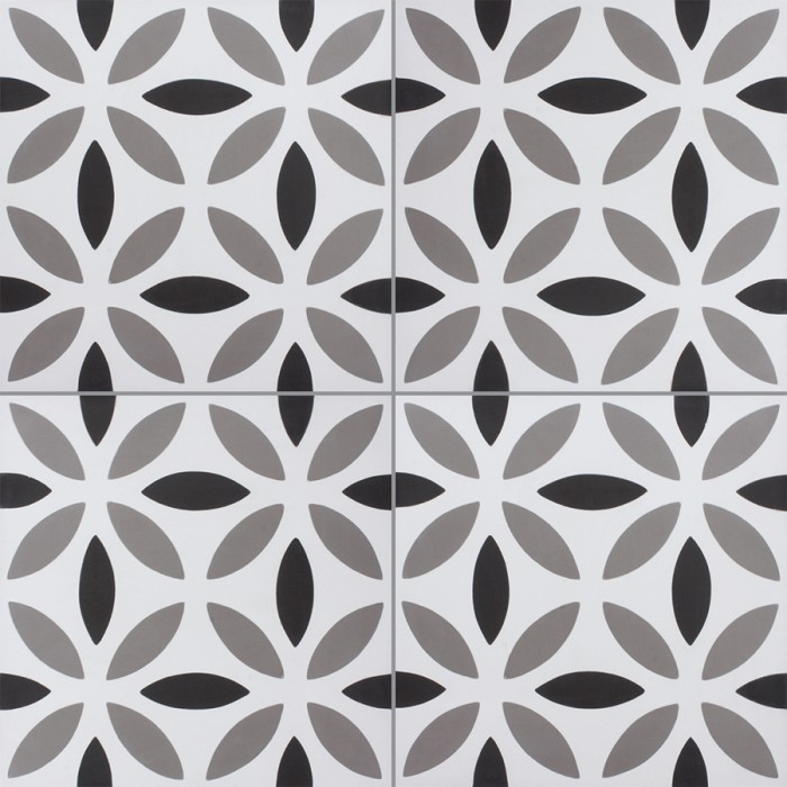 Carreau de ciment coloré motif blanc, gris et noir NOA B 10.01.27