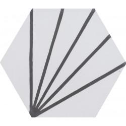 Carreau de ciment coloré Hexagone motif art déco blanc et gris ZEPHIR 10.32