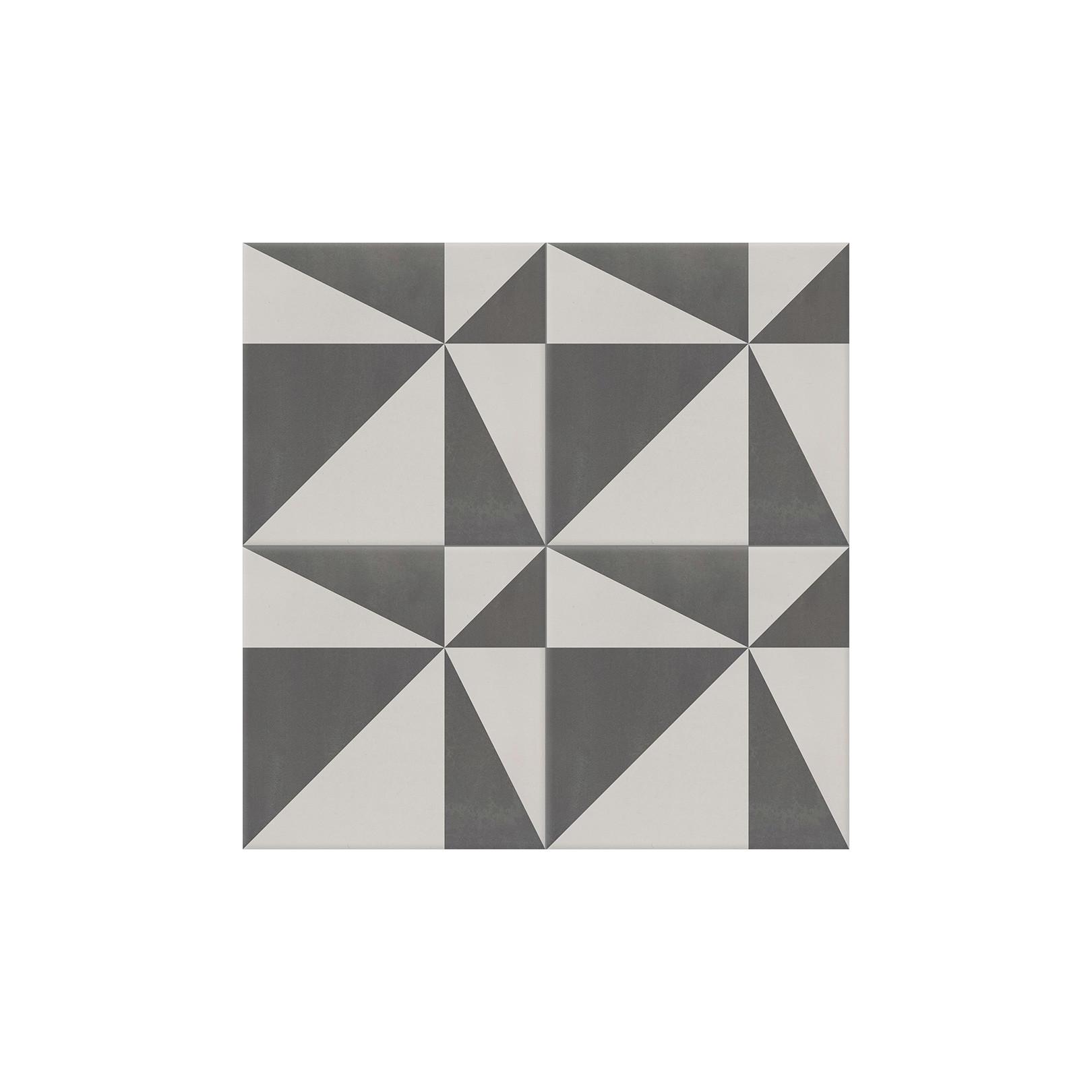 4 Carreaux de ciment coloré motif gris clair et gris foncé ASTER 32.07