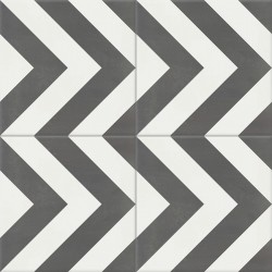 4 Carreaux de ciment coloré motif gris et blanc EPI 32.10