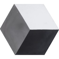 Carreau de ciment coloré Hexagone motif cube 3D gris, blanc et noir HU 01.10.27