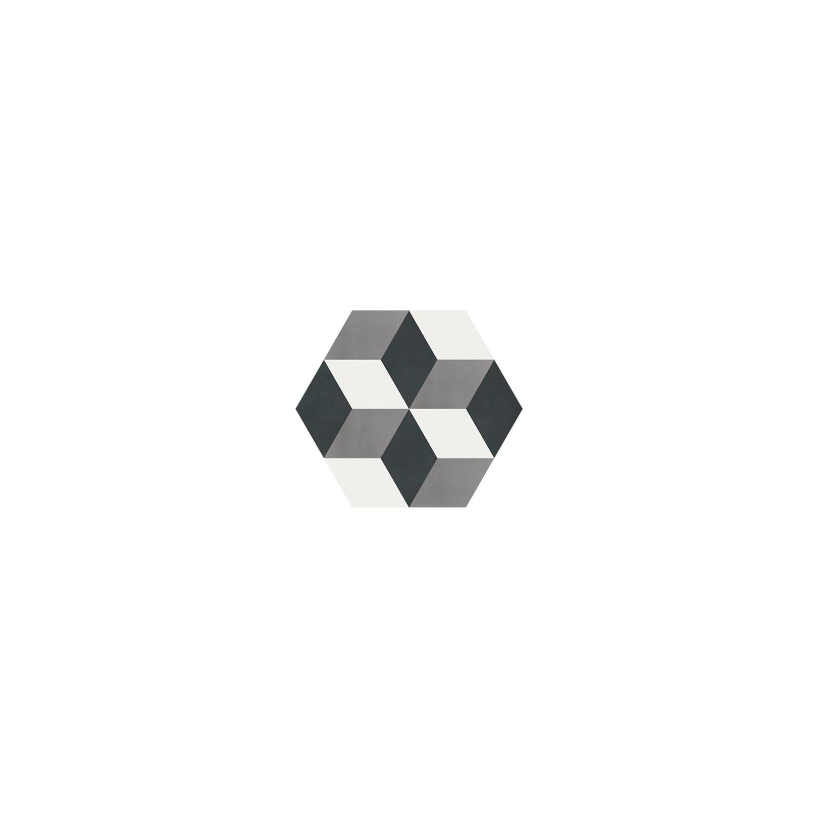 Carreau de ciment coloré Hexagone motif cube 3D gris, blanc et noir CORTES 01.10.27