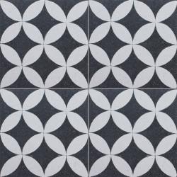 Carreau de terrazzo motif noir et blanc PALMETTE 01.10