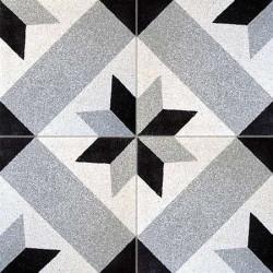 Carreau de terrazzo motif gris, noir et blanc ETOILE 27.07.01