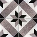 Carreau de terrazzo motif marron, noir et greige ETOILE 28.07.01