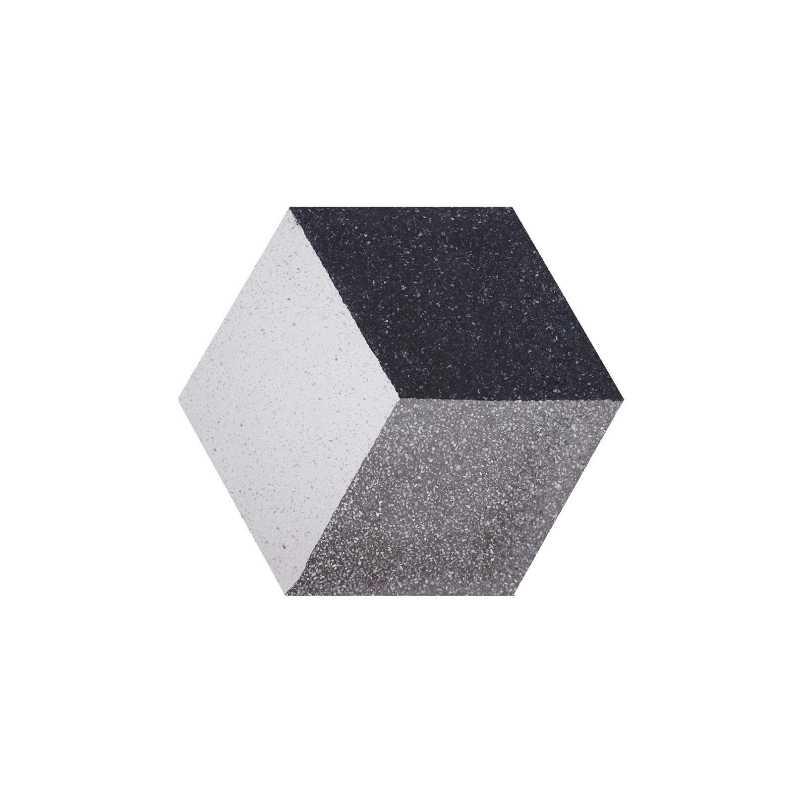 Carreau de terrazzo hexagone motif gris, noir et blanc Cube 3D HTU 01.10.27