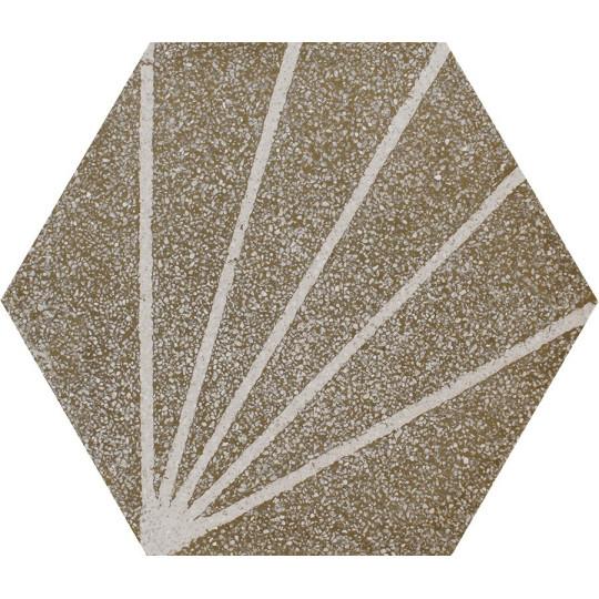 Carreau de terrazzo hexagone motif kaki et gris ZEPHIR TU22.34