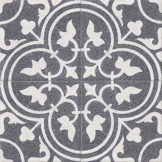 Carreau de terrazzo motif 4 carreaux noir et blanc Normandie TU 01.B10