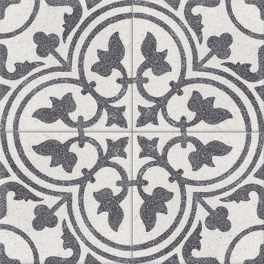 Carreau de terrazzo motif 4 carreaux noir et blanc Normandie TU 10.01B